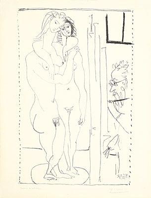 リトグラフ Picasso - Les deux modèles nus