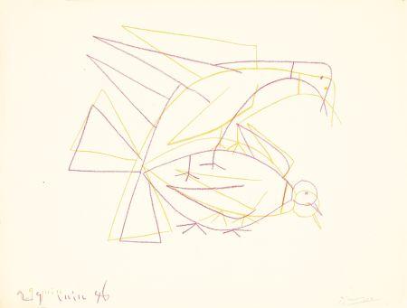 リトグラフ Picasso - Les deux tourterelles doubles