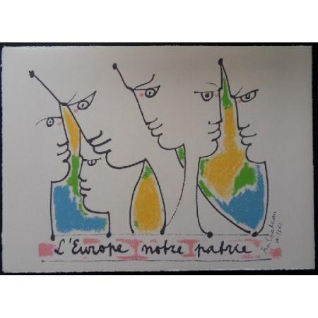 リトグラフ Cocteau - Les fondateurs de l'Europe