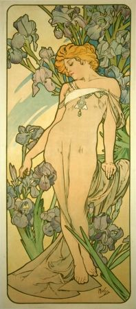 リトグラフ Mucha - Les Iris