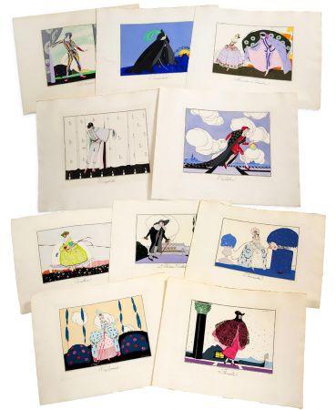 挿絵入り本 Brunelleschi - LES MASQUES ET LES PERSONNAGES DE LA COMÉDIE ITALIENNE, expliqués par Gérard d'Houville, et interprétés par Brunelleschi, en douze estampes coloriées (1914)