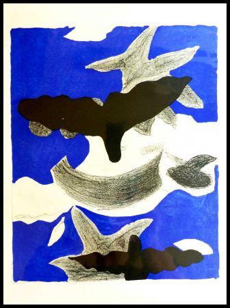 リトグラフ Braque (After) - LES OISEAUX FOND BLEU