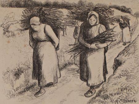リトグラフ Pissarro - Les porteuses de fagots