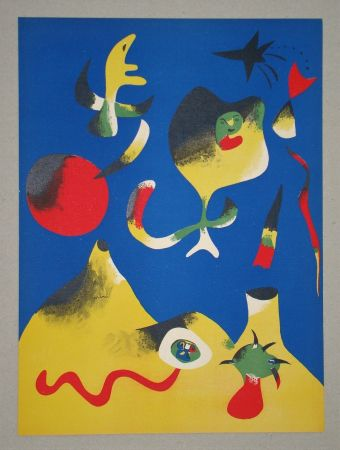 リトグラフ Miró (After) - Les quatre éléments - Air