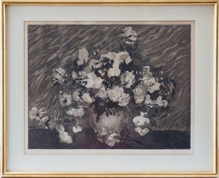 エッチングと アクチアント Villon - Les roses (d'après Van Gogh)