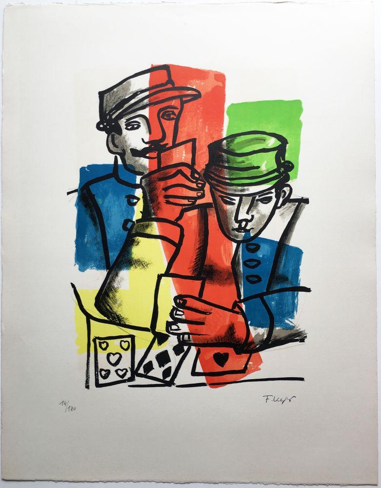 リトグラフ Leger - LES SOLDATS ou LES JOUEURS DE CARTES (La Ville, 1959).
