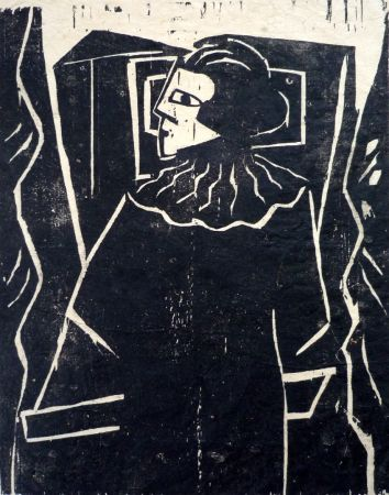 木版 Achmann - Lesende am Fenster (Reading woman at the window)