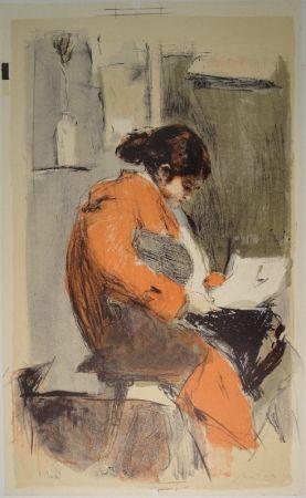 リトグラフ Falk - Lesende in rotem Kimono