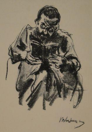 リトグラフ Liebermann - Lesender Mann (Lesender Jude)