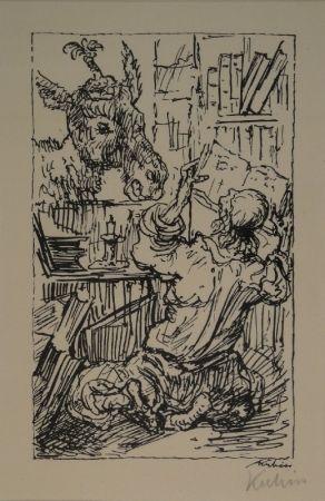 リトグラフ Kubin - Lesender und Esel