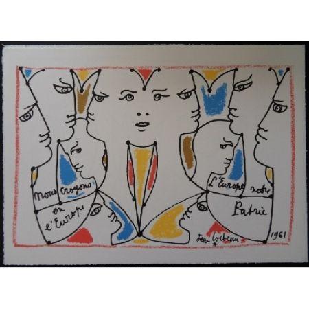 リトグラフ Cocteau - L'europe multicolore