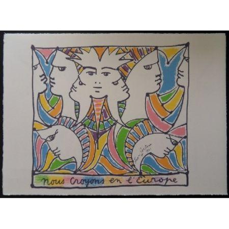 リトグラフ Cocteau - L'Europe tournée vers le monde