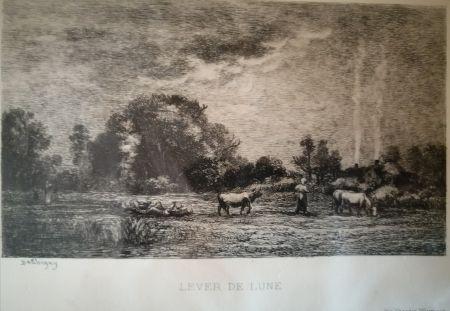 エッチング Daubigny - Lever de lune