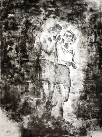 リトグラフ Siversten - L'existant-Deux figures sortant