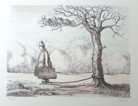 リトグラフ Topor - L'homme aux valises