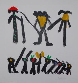 リトグラフ Ionesco - L'homme avec deux femmes et leurs enfants