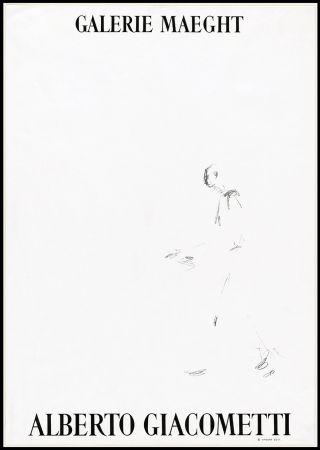 リトグラフ Giacometti - L'HOMME QUI MARCHE (1957). Affiche lithographique pour une exposirion à la Galerie Maeght.