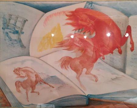 リトグラフ Sassu - Libri e cavalli
