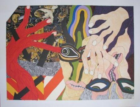 リトグラフ Tola - Lithograph-collage