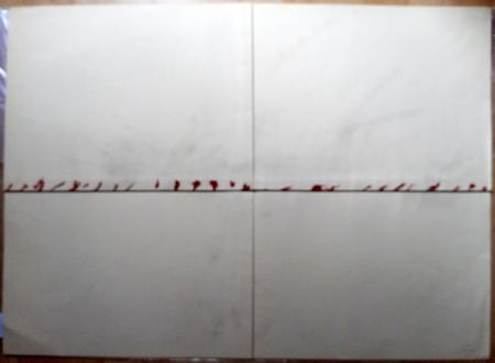 リトグラフ Tàpies - Litografía Doblada en Rojo y Gris