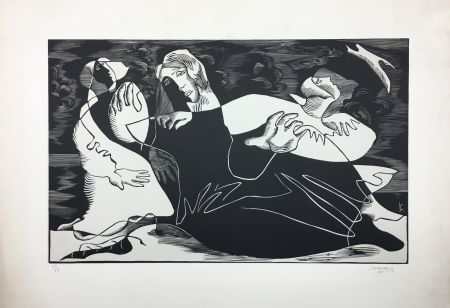 木版 Survage - L'Oiseau (ou Femmes de pêcheurs). Paris 1933