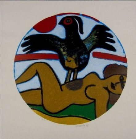 リトグラフ Corneille - L'oiseau Present