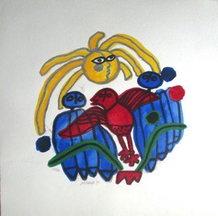 リトグラフ Corneille - L'oiseau rouge