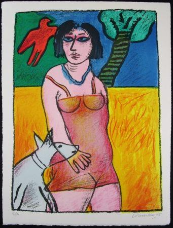 リトグラフ Corneille - L'oiseau Rouge Et Le Chien