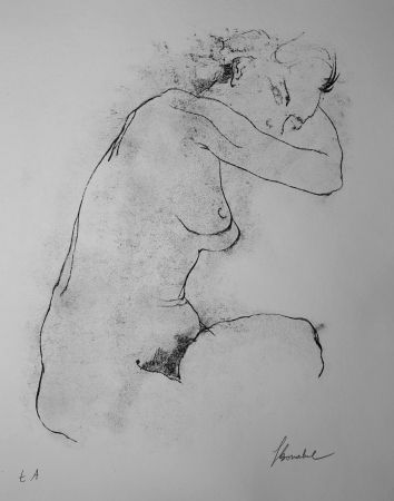 リトグラフ Bonabel - Louis-Ferdinand Céline - Litographie Originale / Original Lithograph - Autoportrait / Self-Portrait - Nu Feminin / Male Nude - 1945