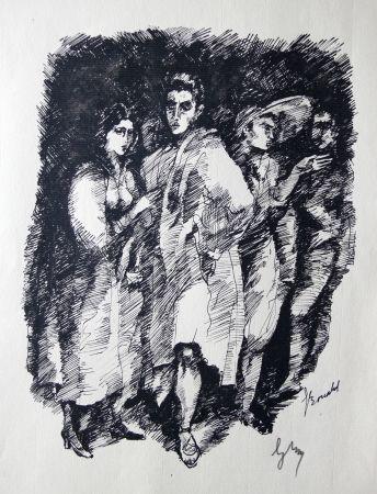 彫版 Bonabel -  Louis-Ferdinand Céline / Lucette Almansor - Gravure Originale - Répétion ballet en costume