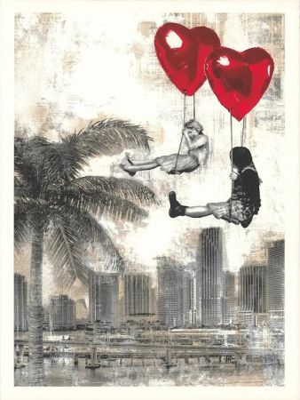 シルクスクリーン Mr Brainwash - Love is in the Air - Miami
