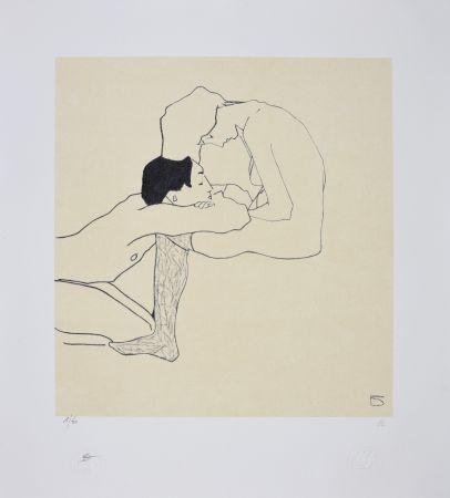 リトグラフ Schiele - LOVERS 1909
