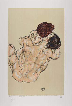 リトグラフ Schiele - Lovers, 1917 (Mann und frau, umarmung)