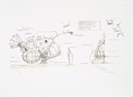 リトグラフ Delarozière - Luminaire des grands fonds