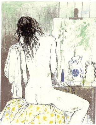 リトグラフ Jansem - Lydia de dos dans l'atelier