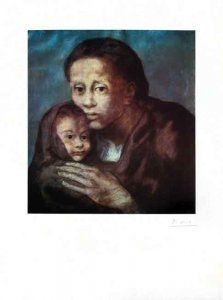 リトグラフ Picasso - Mère et enfant Au Fichu