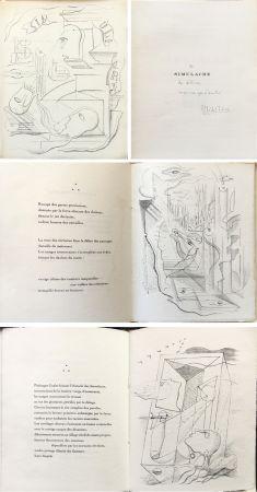挿絵入り本 Masson - M. Leiris & A. Masson : SIMULACRE. 7 lithographies originale. Dédicacé (1925)