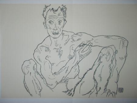 リトグラフ Schiele - Male nude