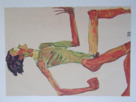 リトグラフ Schiele - Male nude in profil