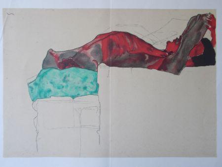 リトグラフ Schiele - Male nude with green cloth