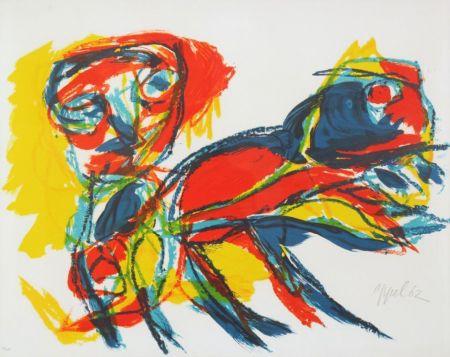 リトグラフ Appel - Man and Red Beast