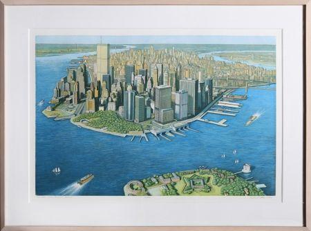 エッチングと アクチアント Haas - Manhattan View from Governor's Island (Color)