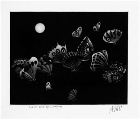 メゾチント彫法 Avati - Manière noire au 13 papillons (1964)