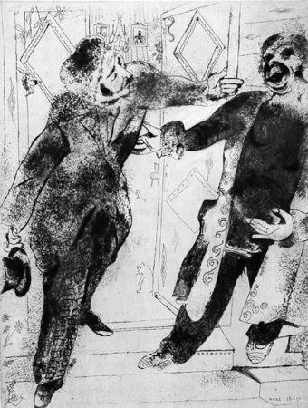 エッチング Chagall - Manilov Et Tchitchikov Sur Le Seuil De La Porte