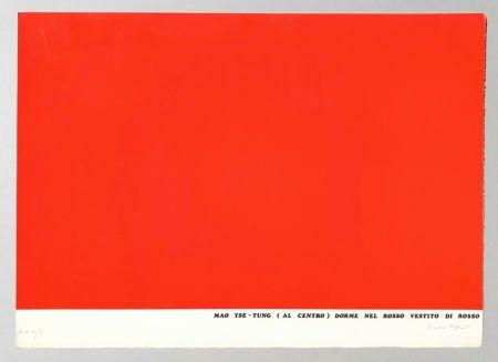 シルクスクリーン Isgro - Mao Tse-Tung (al centro) dorme nel rosso vestito di rosso