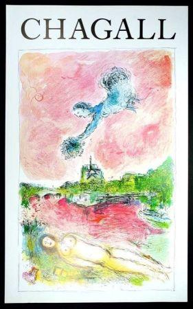 掲示 Chagall - Marc Chagall - Vue Sur Notre Dame. Cartel Exposicion 79 X 48 Cm