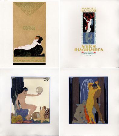 挿絵入り本 Barbier - Marcel Schwob : VIES IMAGINAIRES. Compositions par George Barbier. Le Livre Contemporain (1929). Dans une reliure Art-Déco.