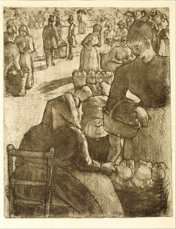 彫版 Pissarro - Marché aux légumes, à Pontoise