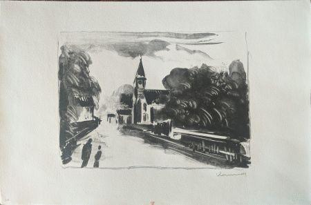 リトグラフ Vlaminck - Marine, l'église