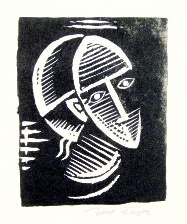 リノリウム彫版 Capek - Maske (Mask)